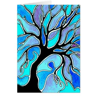 Winter Tree in Blue card