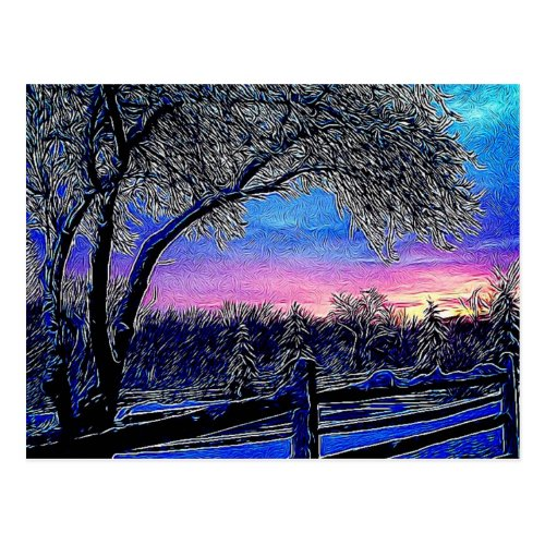 winter trees impressionism sunrise landscape postcard