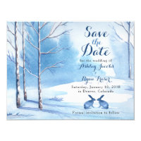 Winter Wedding Save the Date Trees Rabbits Card
