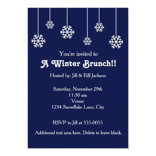 Winter White Hanging Snowflakes Blue Invitation
