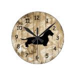 Wire Hair Dachshund Faux Wood Wall Clock