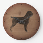 Wirehaired Pointing Griffon Silhouette Rustic Large Clock