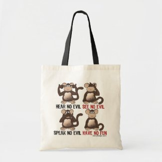 Wise Monkeys Humour Canvas Bag