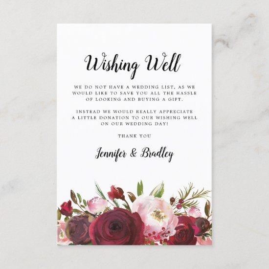 Wishing Well | Blush Burgundy Floral Enclosure Card