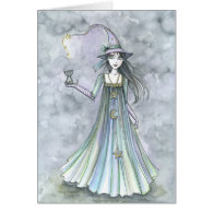 Witch with Kitten Halloween Card