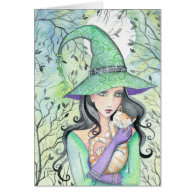 Witch with Orange Tabby Cat Card