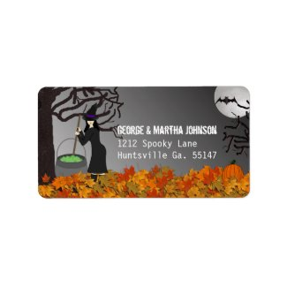 Witchy Night Halloween Address Stickers Custom Address Label