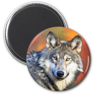 Wolf Art Painting Magnet