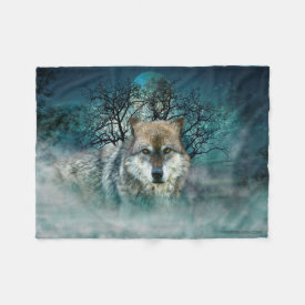 Wolf Full Moon in Fog Fleece Blanket