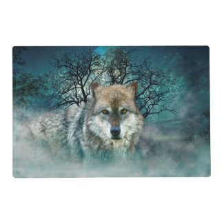 Wolf Full Moon in Fog Laminated Placemat