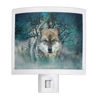 Wolf Full Moon in Fog Nite Lites