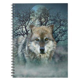 Wolf Full Moon in Fog Spiral Notebook