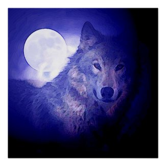 Wolf & Moon Square Poster Print Blue Night Wolves