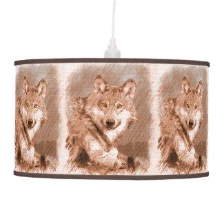 Wolf Pencil Sketch Image Tiled Pattern Hanging Lamp