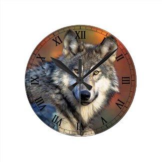 Wolf Photograph Round Clock