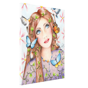 Woman With Birds and Butterflies Canvas Print