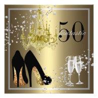 Woman's 50th Birthday Celebration Custom Announcement