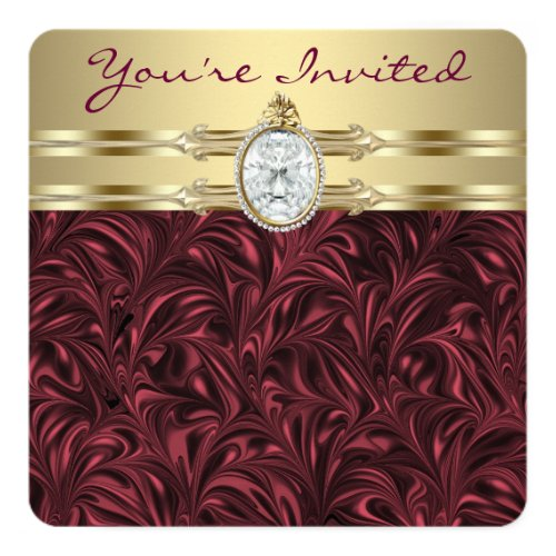 Womans Burgundy Wine and Gold Birthday Party Card