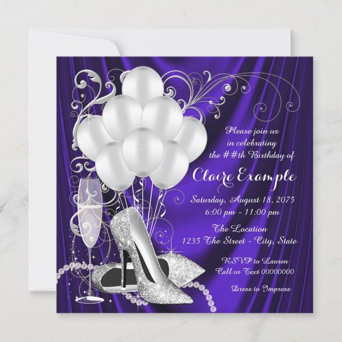 womans purple and silver birthday party luxe invitation zazzle com