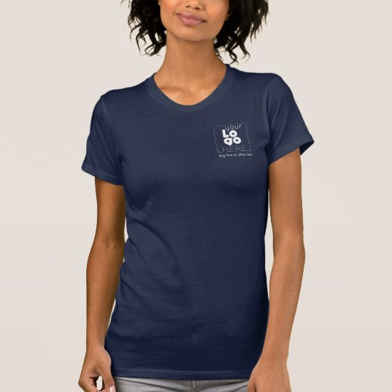 Womens Dark Navy Blue White Business Logo T-Shirt