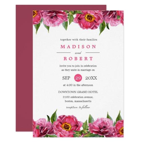 Wonderful Pink Magenta Peonies Flower chic Wedding Invitation