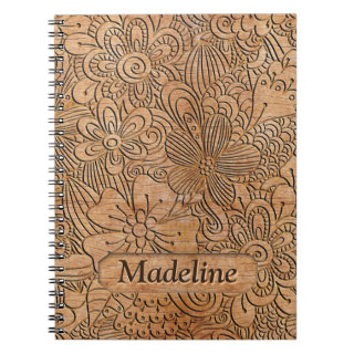 Wood Carvings Floral Pattern Personalized Notebook