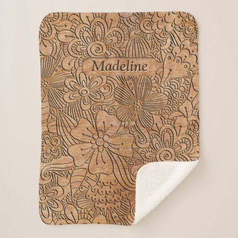 Wood Carvings Floral Pattern Personalized Sherpa Blanket