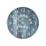 Wood Custom Family Name Rustic Beach House Round Clock
