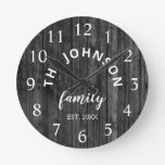 Wood Custom Family Name Rustic Farmhouse Round Clock