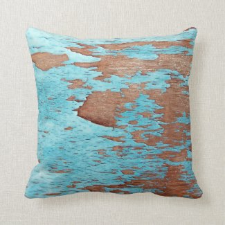 Wood with Peeling Blue Paint Throw Pillows