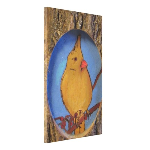 Woodburned Bird On A Tree Branch Canvas