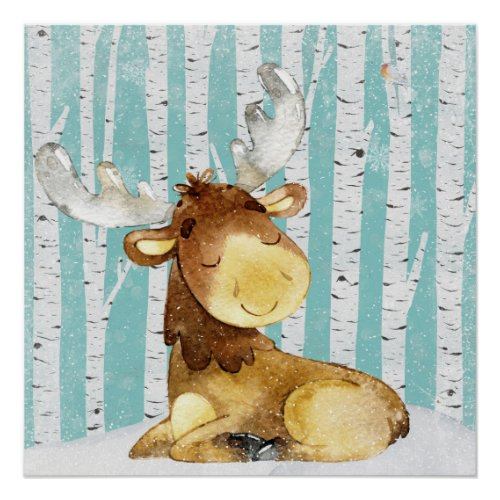 Woodland Animal Friends in Winter Forest- Deer Poster