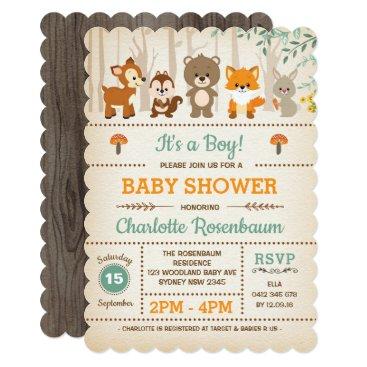 Woodland Baby Shower Invitation Forest Animals