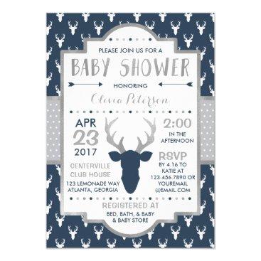 Woodland Deer Baby Shower Invitation, Faux Foil Invitation