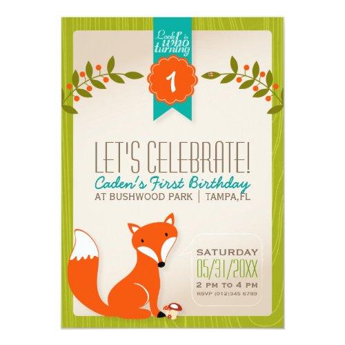 Woodland Fox Birthday Invitation
