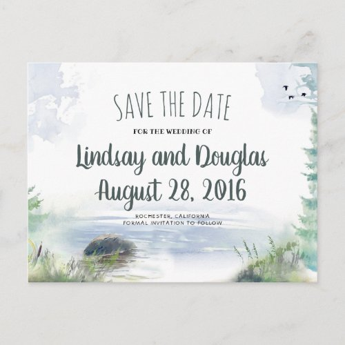 Woodsy Mountains Lake Adventure Save the Date Announcement Postcard