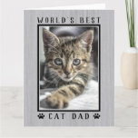 World's Best Cat Dad Photo Happy Birthday Rustic Card