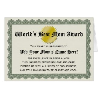 World's Best Mom Award Certificate Card