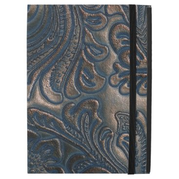 "Worn Vintage Embossed Brown Leather iPad Pro 12.9"" Case"