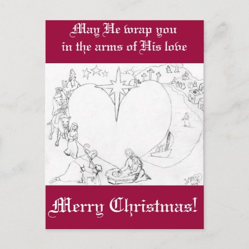 Wrapped in the arms of His Love postcard