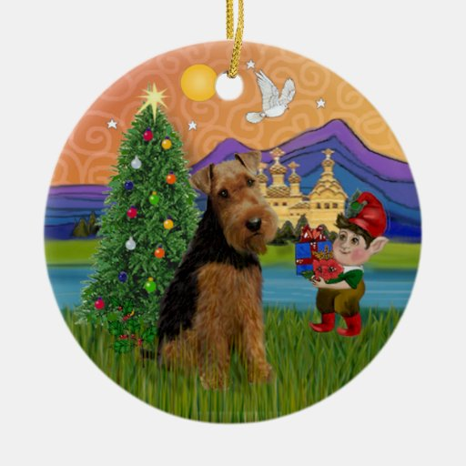 Xmas Fantasy Welsh Terrier Christmas Tree Ornaments