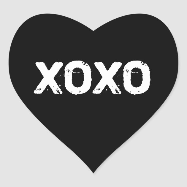 XOXO Valentines Day Black White Hugs Kisses Custom Heart