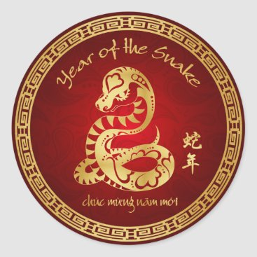 Year of the Snake 2013 - Vietnamese New Year - Tết Classic Round Sticker