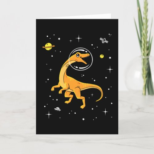 Yellow And Orange Velociraptor Dinos In Space Card