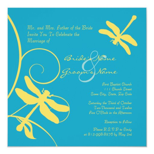 Yellow and Turquoise Dragonfly Wedding Invitation