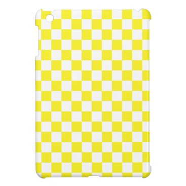 Yellow and White Checkered Pattern Cover For The iPad Mini