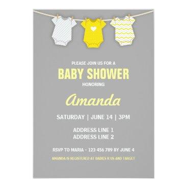 Yellow Baby Shower Invitation, Clothesline Theme Card
