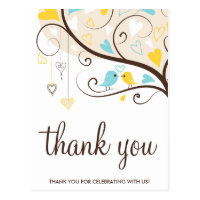 Yellow & Blue Summer Lovebirds Thank You Postcard