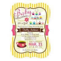 Yellow, Brown & Pink Tea, Cupcake Baby Shower Card