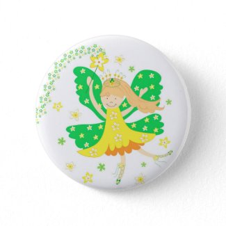 Yellow daffodil fairy - Pin button button